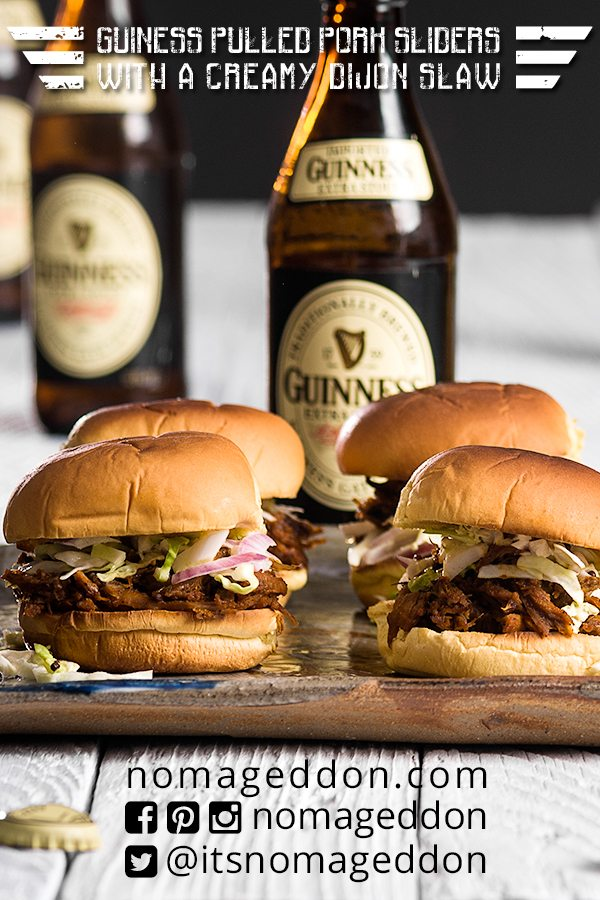 Guiness Pulled Pork Sliders With A Creamy Dijon Slaw
