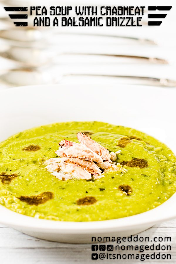 Split Pea Soup with Crab Meat And A Balsamic Drizzle