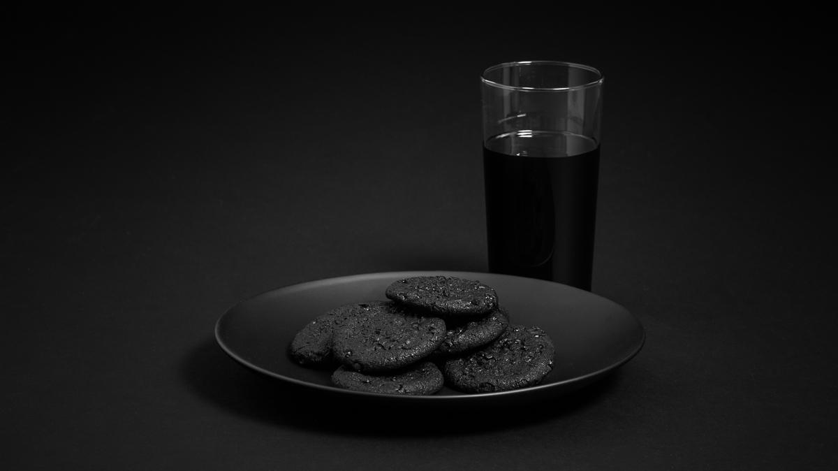 Black Food Cookies And Milk