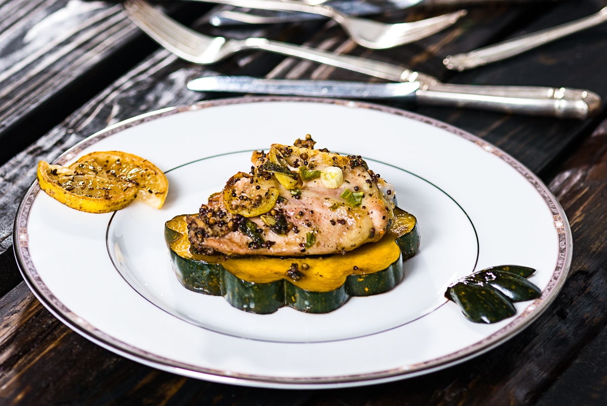 Roasted Chicken Thighs With Acron Squash