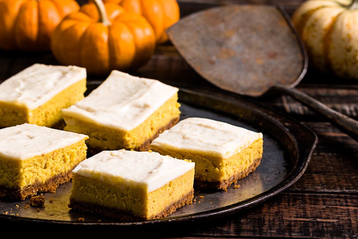 Pumpkin Pie Bars with a Gingersnap Crust