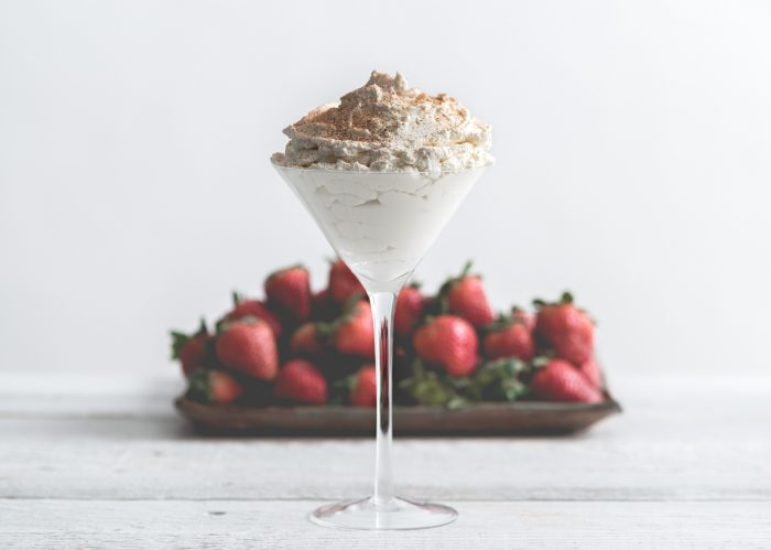 Strawberries and Brandy Alexander Cream