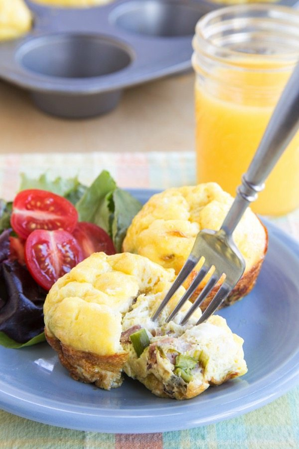 Ham Asparagus and Goat Cheese Egg Muffin Cups