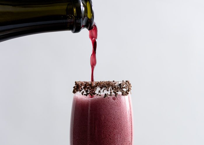 Sparkling Shiraz Cocktail with Dark Chocolate Coated Cacao Nibs