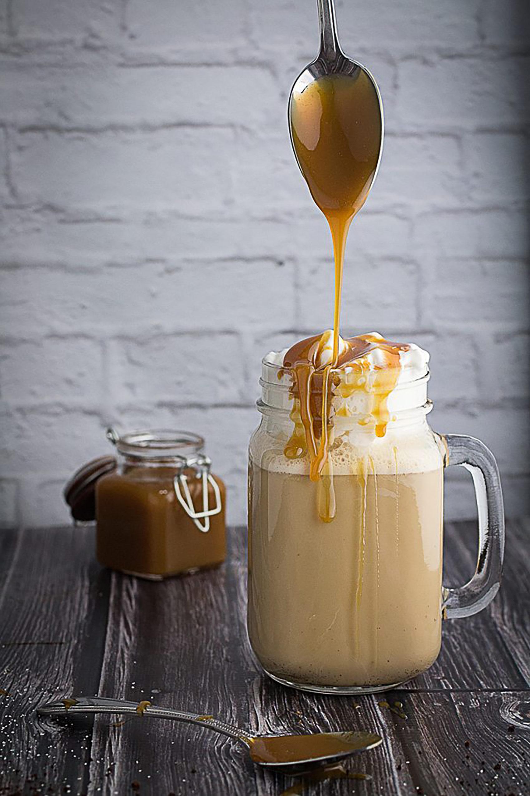 Dishing Delish Salted Caramel Frappuccino Milkshake